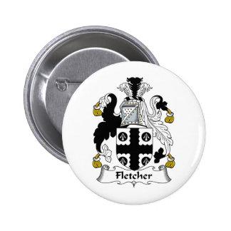 Escudo de la familia de Fletcher Pin Redondo De 2 Pulgadas