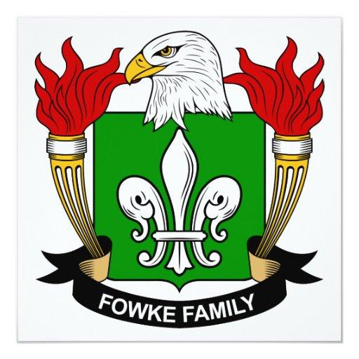 """Escudo de la familia de Fowke Invitación 5.25"""" X 5.25"""""""