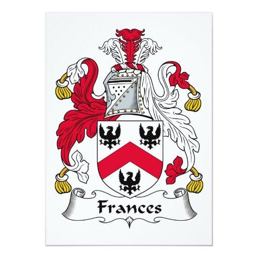 """Escudo de la familia de Frances Invitación 5"""" X 7"""""""