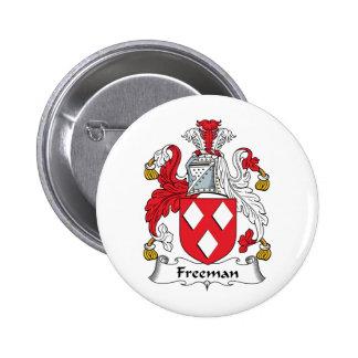 Escudo de la familia de Freeman Pin Redondo De 2 Pulgadas