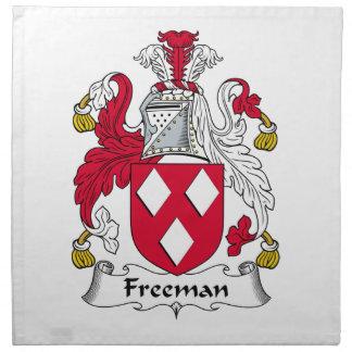 Escudo de la familia de Freeman Servilleta