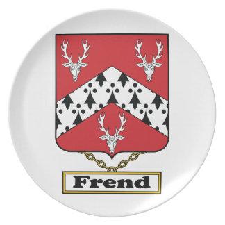 Escudo de la familia de Frend Platos Para Fiestas