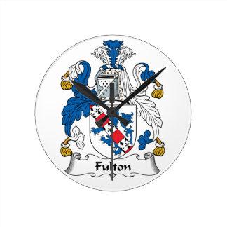 Escudo de la familia de Fulton Reloj Redondo Mediano