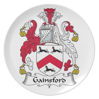 Escudo de la familia de Gainsford Platos Para Fiestas