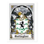 Escudo de la familia de Gallagher Tarjeta Postal