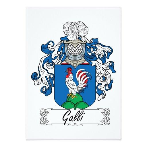 """Escudo de la familia de Galli Invitación 5"""" X 7"""""""