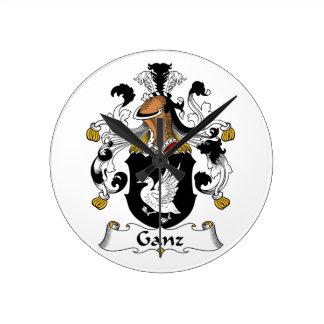 Escudo de la familia de Ganz Relojes De Pared