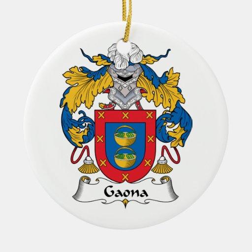 Escudo de la familia de Gaona Adorno Navideño Redondo De Cerámica