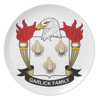 Escudo de la familia de Garlick Plato Para Fiesta