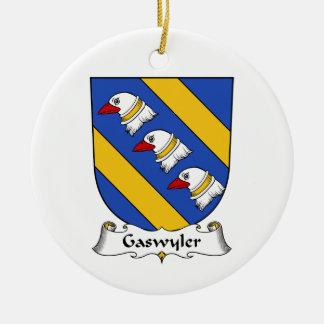Escudo de la familia de Gaswyler Adorno Navideño Redondo De Cerámica