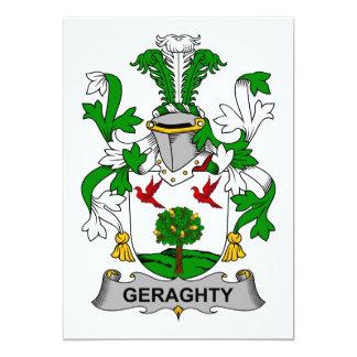 Escudo de la familia de Geraghty Invitación 12,7 X 17,8 Cm