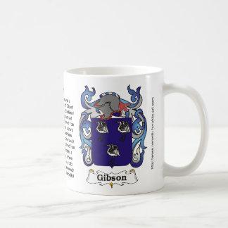 Escudo de la familia de Gibson en una taza