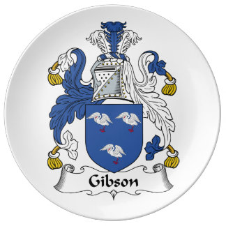 Escudo de la familia de Gibson Platos De Cerámica