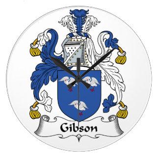 Escudo de la familia de Gibson Reloj Redondo Grande