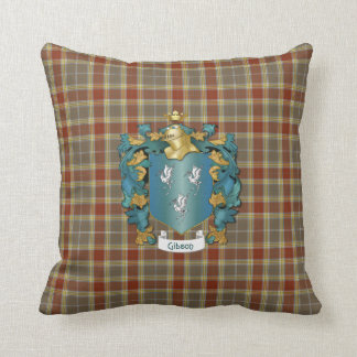 Escudo de la familia de Gibson y tela escocesa de Cojín Decorativo