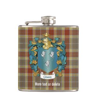 Escudo de la familia de Gibson y tela escocesa de Petaca
