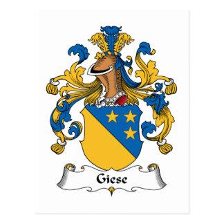 Escudo de la familia de Giese Tarjetas Postales