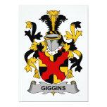 Escudo de la familia de Giggins Invitación 12,7 X 17,8 Cm