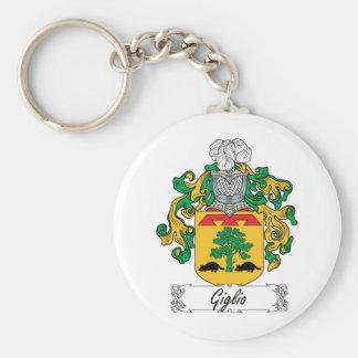 Escudo de la familia de Giglio Llavero Redondo Tipo Pin