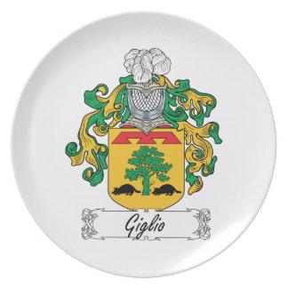 Escudo de la familia de Giglio Plato Para Fiesta
