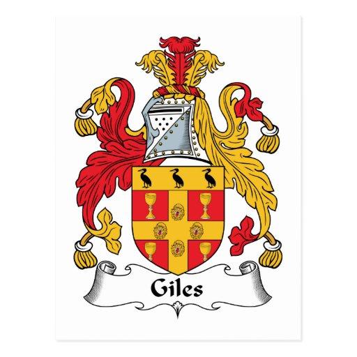 Escudo de la familia de Giles Tarjeta Postal