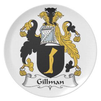 Escudo de la familia de Gillman Plato Para Fiesta