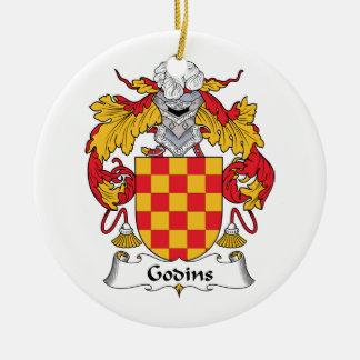 Escudo de la familia de Godins Adorno Navideño Redondo De Cerámica