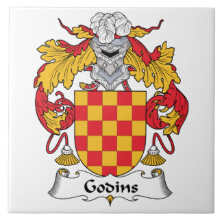 Escudo de la familia de Godins Azulejo Cuadrado Grande