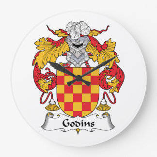 Escudo de la familia de Godins Reloj Redondo Grande