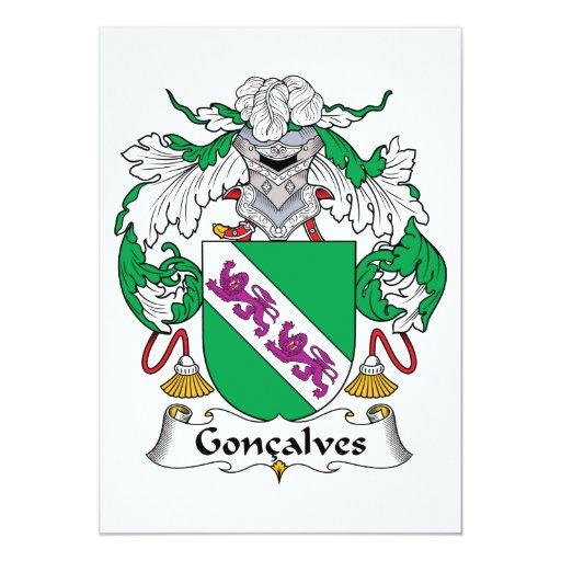 """Escudo de la familia de Goncalves Invitación 5"""" X 7"""""""