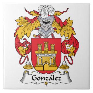 Escudo de la familia de Gonzalez Azulejo Cuadrado Grande