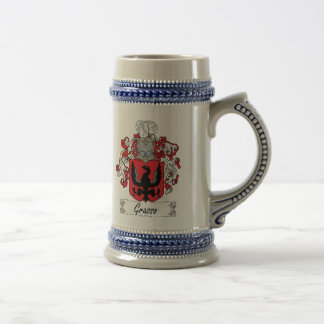 Escudo de la familia de Grasso Jarra De Cerveza