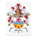 Escudo de la familia de Grawe Invitación 16,5 X 22,2 Cm