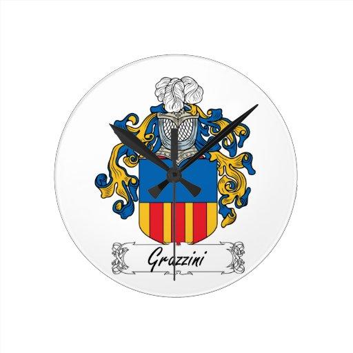 Escudo de la familia de Grazzini Relojes De Pared