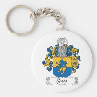 Escudo de la familia de Greco Llavero Redondo Tipo Pin