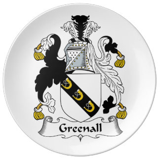 Escudo de la familia de Greenall Plato De Cerámica