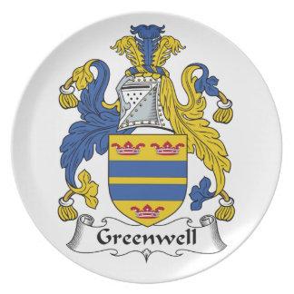 Escudo de la familia de Greenwell Plato De Cena