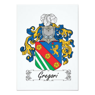 Escudo de la familia de Gregori Invitación 12,7 X 17,8 Cm