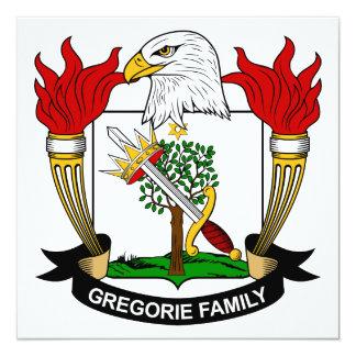Escudo de la familia de Gregorie Invitación 13,3 Cm X 13,3cm