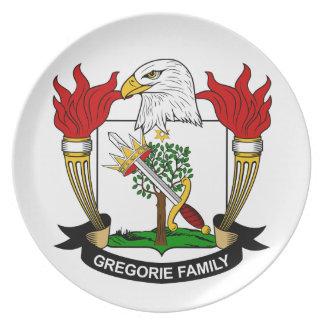 Escudo de la familia de Gregorie Platos De Comidas