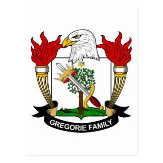 Escudo de la familia de Gregorie Tarjeta Postal