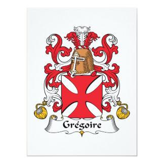 Escudo de la familia de Gregorio Invitación 16,5 X 22,2 Cm