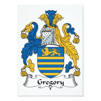 Escudo de la familia de Gregory Invitación 12,7 X 17,8 Cm