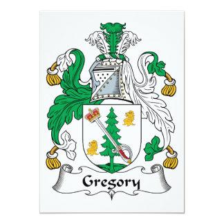 """Escudo de la familia de Gregory Invitación 5"""" X 7"""""""