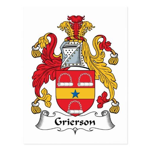 Escudo de la familia de Grierson Tarjeta Postal