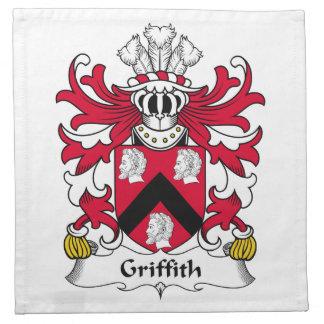 Escudo de la familia de Griffith Servilleta