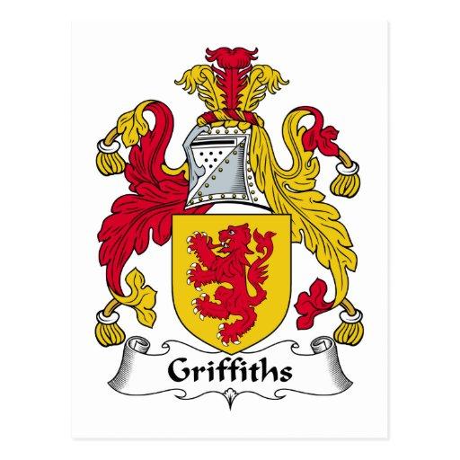 Escudo de la familia de Griffiths Tarjetas Postales