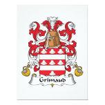 Escudo de la familia de Grimaud Invitación 16,5 X 22,2 Cm