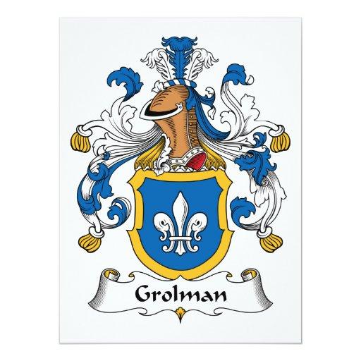 """Escudo de la familia de Grolman Invitación 6.5"""" X 8.75"""""""
