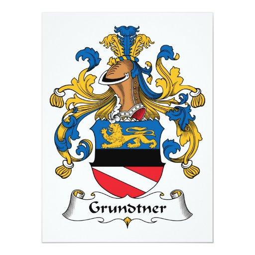 """Escudo de la familia de Grundtner Invitación 6.5"""" X 8.75"""""""